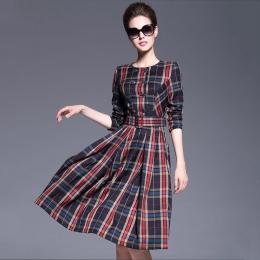 【Jisen】簡約格紋雙排釦洋裝